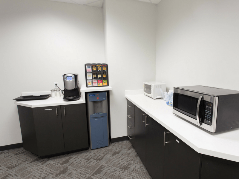 Amenities: Coffee break station with microwave and toaster oven.